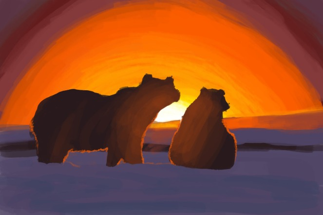 Polar Bears - In the sunset.  (Caters News/Sylvain Cordier)